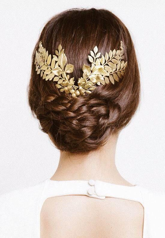 wedding-updo-hairstyle-with-gold-leafs-hair-crown