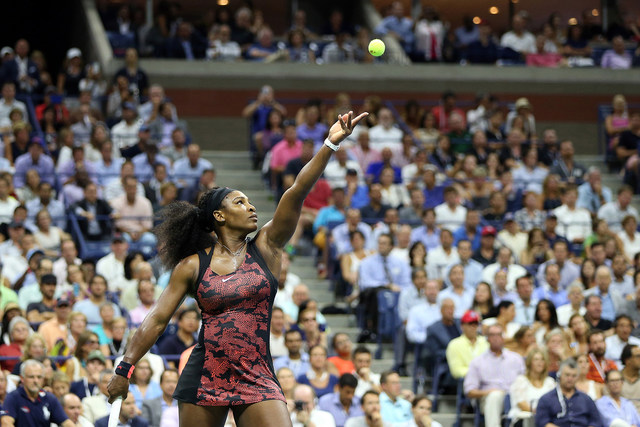 September 8, 2015 - Serena Williams in action against Venus Williams (not pictured) in a women's singles quarterfinal match during the 2015 US Open at the USTA Billie Jean King National Tennis Center in Flushing, NY. (USTA/Michael LeBrecht)